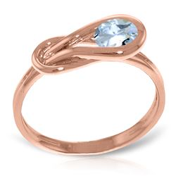 ALARRI 14K Solid Rose Gold Ring w/ Natural Aquamarine