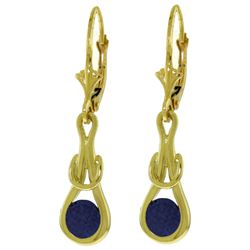 ALARRI 1.3 Carat 14K Solid Gold Leverback Earrings Natural Sapphire