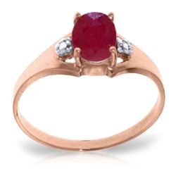 ALARRI 1.26 Carat 14K Solid Rose Gold Brilliance Ruby Diamond Ring