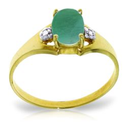 ALARRI 1.26 Carat 14K Solid Gold Ultrapolished Emerald Diamond Ring