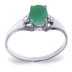 ALARRI 1.26 Carat 14K Solid White Gold Necklaceessary Ground Emerald Diamond Ring