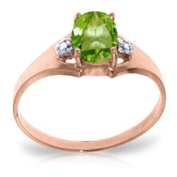 ALARRI 0.76 CTW 14K Solid Rose Gold Brilliance Peridot Diamond Ring