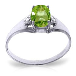 ALARRI 0.76 Carat 14K Solid White Gold Stands For Something Peridot Diamond Ring