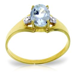 ALARRI 0.76 Carat 14K Solid Gold Permitted To Love Aquamarine Diamond Ring