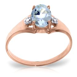 ALARRI 0.76 CTW 14K Solid Rose Gold Brilliance Aquamarine Diamond Ring
