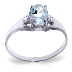 ALARRI 0.76 CTW 14K Solid White Gold Night Is Young Aquamarine Diamond Ring