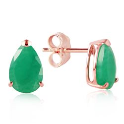 ALARRI 14K Solid Rose Gold Stud Earrings w/ Natural Emeralds