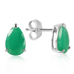 ALARRI 2 Carat 14K Solid White Gold Temptation Near Emerald Earrings