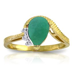 ALARRI 1.02 CTW 14K Solid Gold You're Still Standing Emerald Diamond Ring