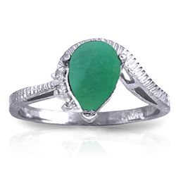 ALARRI 1.02 Carat 14K Solid White Gold In Small Ways Emerald Diamond Ring