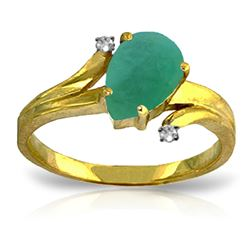 ALARRI 1.01 Carat 14K Solid Gold Ring Diamond Emerald