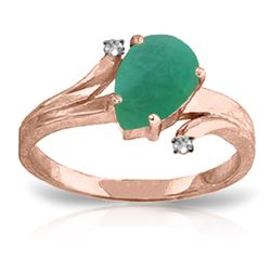 ALARRI 1.01 Carat 14K Solid Rose Gold Ring Diamond Emerald