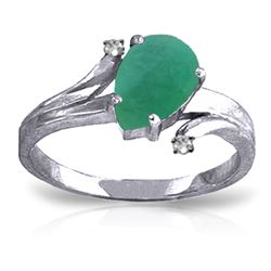 ALARRI 1.01 Carat 14K Solid White Gold Ring Diamond Emerald
