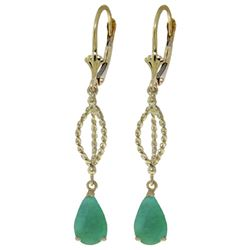 ALARRI 2 Carat 14K Solid Gold Fleur De Lis Emerald Earrings
