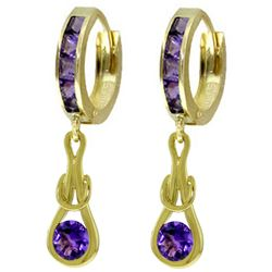 ALARRI 2.15 CTW 14K Solid Gold Huggie Earrings Dangling Amethyst