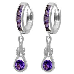 ALARRI 2.15 CTW 14K Solid White Gold Huggie Earrings Dangling Amethyst