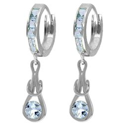 ALARRI 2.15 CTW 14K Solid White Gold Smell Of Your Skin Aquamarine Earrings