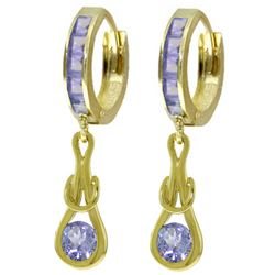ALARRI 2.25 Carat 14K Solid Gold Huggie Earrings Dangling Tanzanite