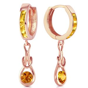 ALARRI 14K Solid Rose Gold Huggie Earrings w/ Dangling Citrines
