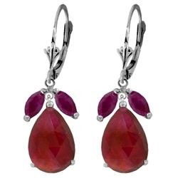 ALARRI 11 CTW 14K Solid White Gold Heart's Desire Ruby Earrings