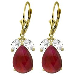 ALARRI 11 Carat 14K Solid Gold Leverback Earrings Ruby White Topaz
