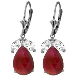 ALARRI 11 Carat 14K Solid White Gold Leverback Earrings Ruby White Topaz