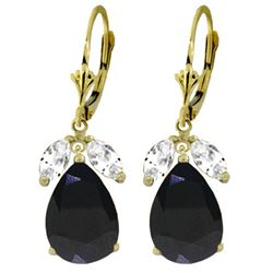 ALARRI 10.3 Carat 14K Solid Gold Leverback Earrings Sapphire White Topaz