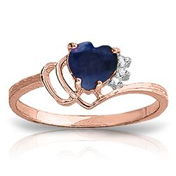ALARRI 1.02 Carat 14K Solid Rose Gold Dainty Heart Sapphire Diamond Ring