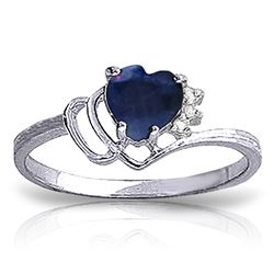 ALARRI 1.02 Carat 14K Solid White Gold Love Sweetens Life Sapphire Diamond Ring