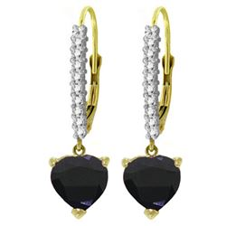 ALARRI 3.4 Carat 14K Solid Gold Leverback Earrings Natural Diamond Sapphire