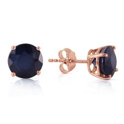 ALARRI 14K Solid Rose Gold Stud Earrings w/ Natural Sapphires