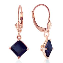 ALARRI 14K Solid Rose Gold Leverback Earrings w/ Natural Sapphires