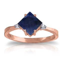 ALARRI 1.46 CTW 14K Solid Rose Gold Ring Diamond Sapphire