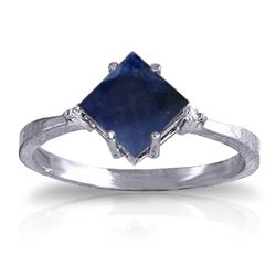 ALARRI 1.46 CTW 14K Solid White Gold Ring Diamond Sapphire