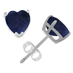 ALARRI 3.1 Carat 14K Solid White Gold Stud Earrings Natural Heart Sapphire