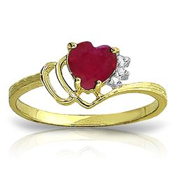 ALARRI 1.02 Carat 14K Solid Gold Dazzling Dazzler Ruby Diamond Ring
