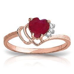 ALARRI 1.02 Carat 14K Solid Rose Gold Brilliance Ruby Diamond Ring