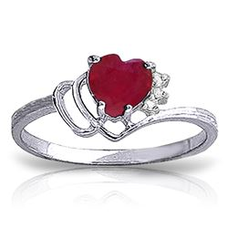 ALARRI 1.02 CTW 14K Solid White Gold Live In Love Ruby Diamond Ring