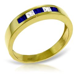 ALARRI 0.63 Carat 14K Solid Gold Rings Natural Sapphire White Topaz