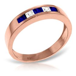 ALARRI 14K Solid Rose Gold Rings w/ Natural Sapphires & Rose Topaz