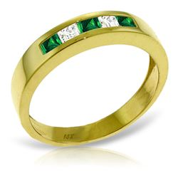 ALARRI 0.63 Carat 14K Solid Gold Rings Natural Emerald White Topaz