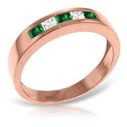 ALARRI 14K Solid Rose Gold Rings w/ Natural Emeralds & Rose Topaz