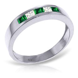 ALARRI 0.63 Carat 14K Solid White Gold Rings Natural Emerald White Topaz