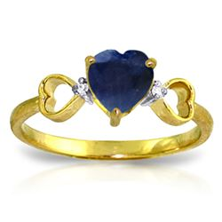 ALARRI 1.01 CTW 14K Solid Gold Beauty Classes Sapphire Diamond Ring