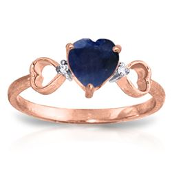 ALARRI 1.01 CTW 14K Solid Rose Gold Tri Heart Sapphire Diamond Ring
