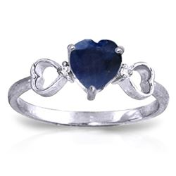 ALARRI 1.01 CTW 14K Solid White Gold Je L'aime Sapphire Diamond Ring