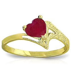 ALARRI 1 Carat 14K Solid Gold Not A Metaphore Upon Ruby Ring