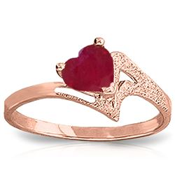 ALARRI 1 Carat 14K Solid Rose Gold Loveheart Ruby Ring