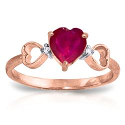 ALARRI 1.01 Carat 14K Solid Rose Gold Tri Heart Ruby Diamond Ring