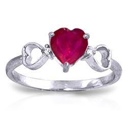 ALARRI 1.01 CTW 14K Solid White Gold Amethystong The Gifted Ruby Diamond Ring